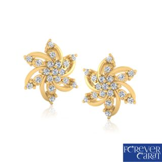 Natural 0.29ct White Diamond Earring Set 14k Hallmark Gold Diamond Stud ER-0213