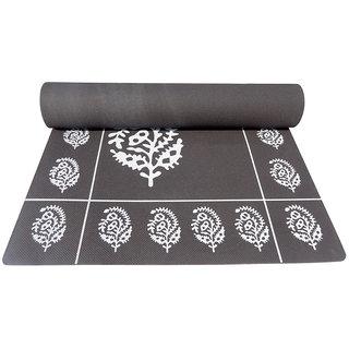 Gravolite 72inch26inch4MM Grey Floral Yoga Mat with Yoga Strap