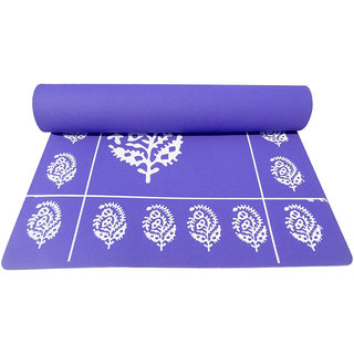 Gravolite 10MM Thickness  3 Feet wide 6.5 Feet length Purple Floral Yoga Mat with Strap  Carry Bag