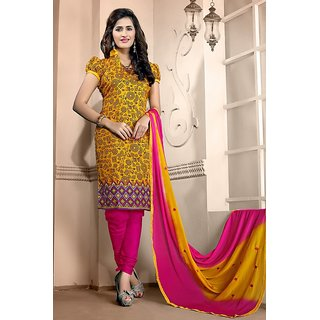 Sareemall Yellow Tussar Silk Printed Salwar Suit Dress Material
