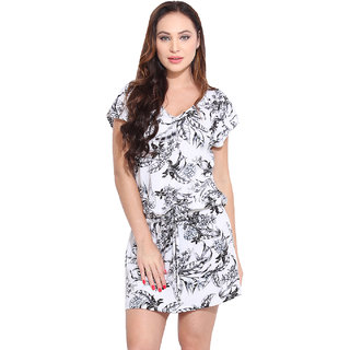 Ceylin White Chiffon Floral Casual Dress