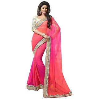 Aracruz Womens Designer Party Wear Gehena 2d Collection Orange Color Georgette Embroidered Saree Sari With Unstitched B available at ShopClues for Rs.530