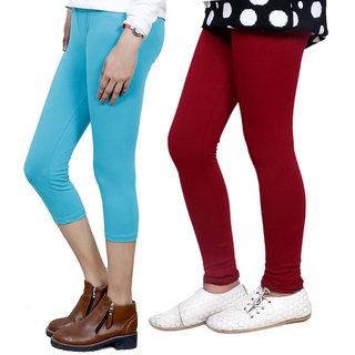 IndiWeaves Girls Cotton Legging with Cotton Capri Set of-115 7180371400-IW