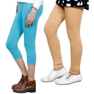 IndiWeaves Girls Cotton Legging with Cotton Capri Set of-121 7180371401-IW