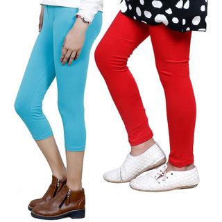 IndiWeaves Girls Cotton Legging with Cotton Capri Set of-133 7180371404-IW