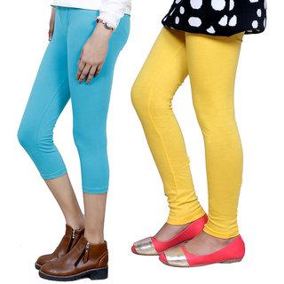 IndiWeaves Girls Cotton Legging with Cotton Capri Set of-151 7180371407-IW