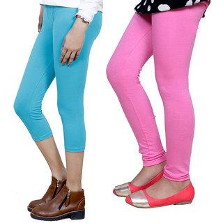 IndiWeaves Girls Cotton Legging with Cotton Capri Set of-157 7180371408-IW
