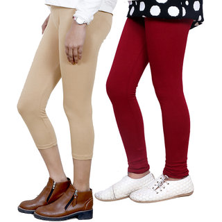 IndiWeaves Girls Cotton Legging with Cotton Capri Set of-277 7180771400-IW