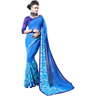 Khushali Presents Georgette Comely Saree(Light Blue) Ynhnp221074