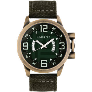 Laurels Oval Dial Green Fabric Strap Analog Mens Watch
