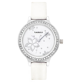 Laurels Floral Analog White Dial Womens Watch - LL-Fl-104