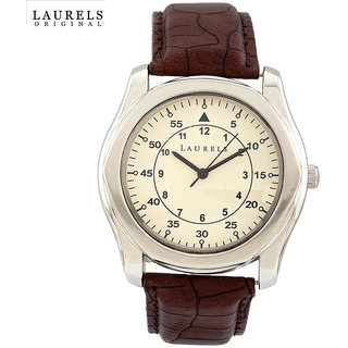 Laurels Oval Dial Brown Leather Strap Analog Men's Watch