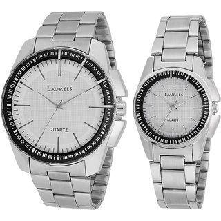 Laurels August Analog White Dial Couples Watch - Lo-AGST-0107C