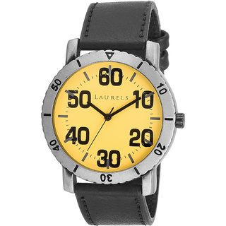Laurels Furious Analog Yellow Dial Mens Watch - Lo-FRS-0802.