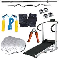 Lifeline Trademill+Fitfly Brand New Home Gym Set 50kg Steel Weight+3ft Curl Rod+5ft Plain Rod+All Gym Accessories
