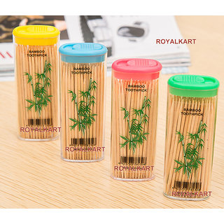 MINI TOOTHPICK BAMBOO PORTABLE BOTTLES (4 BOXES) TRAVEL RESTAURANT PURPOSE