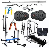 Lifeline Treadmill+Fitfly 20 in 1 Bench+100kg Weight+3ft Curl Rod+5ft Plain Rod+Skipping Rope+All Gym Accessories