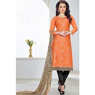 Sareemall Orange Chanderi Embroidered Salwar Suit Dress Material