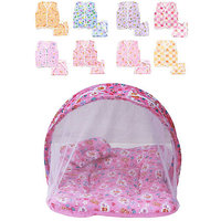 (Summer Special Offer)Firststep New Born Baby Combo Of 2 Items Pink Mosquito Net Bed And New Born Baby Cotton Jhabla Pac