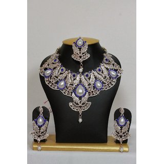 Unique Traditional Necklace Set In Blue With Pearls