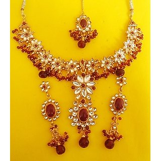 DESIGNER KUNDAN,CZ DIAMOND,RUBY NECKLACE SET