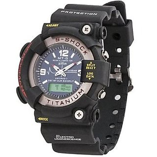 MTG Analog-Digital Black Silicone Watch - Men