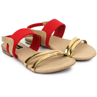 Do Bhai WomenS Red Casual Round Toe Sandals (Lycra-Sandal-Red-Golden)