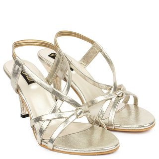 Do Bhai WomenS Gold Casual Round Toe Heel Sandals (Sandal-05-Golden)