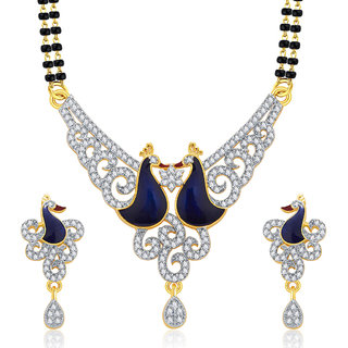 Sukkhi Precious Peacock Gold And Rhodium Plated CZ Mangalasutra Set For Women