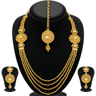 Sukkhi Pleasing Four Strings Gold Plated Necklace Set For Women