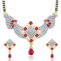 Sukkhi Pleasing Gold And Rhodium Plated Ruby CZ Mangalasutra Set For Women