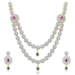 Sukkhi Rakish Gold And Rhodium Plated Ruby CZ Neklace Set For Women