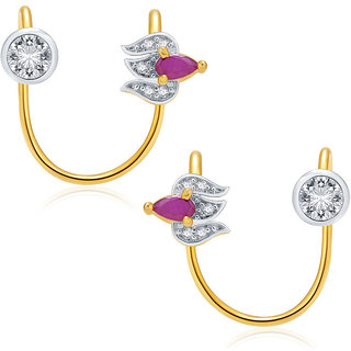 Sukkhi Luminous Gold And Rhodium Plated Ruby CZ Earcuff For Women