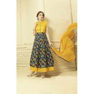 Thankar Yellow And Multy Printed Bhagalpuri Print Anarkali Suit