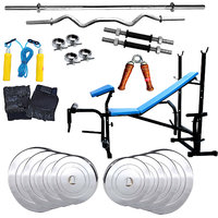 Fitfly 7 in 1 Bench+55kg Steel Weight Home Gym Set+3ft Curl Rod+5ft Plain Rod+Dumbbell Rod+All Gym Accessories