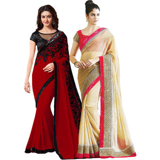 Bhuwal Fashion Beige Chiffon Embroidered Saree With Blouse