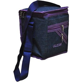 Gleam Mesh Padded Container Box Waterproof Lunch Bag     (Blue Purple 10 L)