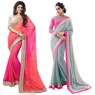 bhuwal designer multi color faux georgette combo of 2 saree-combo83