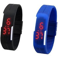 Digital LED Band Watch For Kids Combo (Blue + Black) By Dil2Deals