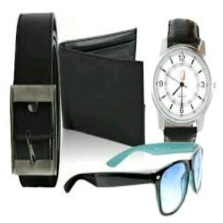 Bm fashion men combo belt wallet watch and wayfrer