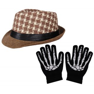 Sushito Brown Fashion Fidora Hat With Hand Gloves JSMFHCP1245-JSMFHHG0037