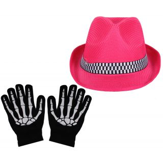 Sushito Pink Dancing Fidora Hat With Hand Gloves JSMFHCP1252-JSMFHHG0037