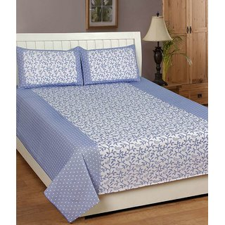 Akash Ganga Blue Spice Cotton Double Bedsheet with 2 Pillow Covers (SW-BD-01)