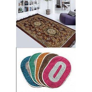 K Decor Multicolor Polyester Bath Mat In Combo of  1 Carpet  3 Doormats (dc-006)