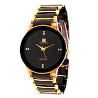IIK Collection Black Dial Casual/Formal Wrist Watch For Men(Golden  Black Strap)