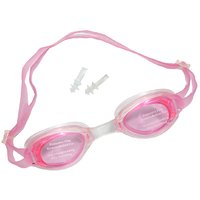 LionsLand Pink Double Strap Men and Women Silicon Swimming With Earplugs Free Size