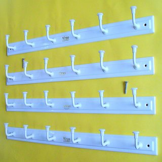 Door / Wall Hook Hanger Nice Looks Nice Feelings White Elegant 6 hook Cloth Hanger with Screws (Set of 4)
