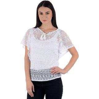 Raabta White Cotton Net Caftan