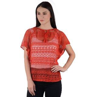 Raabta Red Net Cotton Caftan