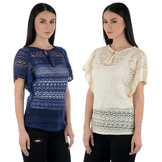 Raabta Beige and Blue Cotton Net Caftan Set of Two Combo